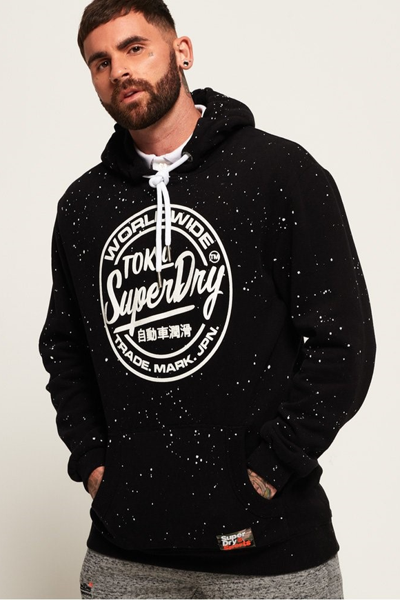 Superdry WORLD WIDE TICKET TYPE HOOD BLACK