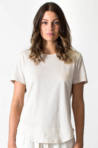 Casa Amuk WOMENS BASIC SADDLE HEM TEE BEIGE