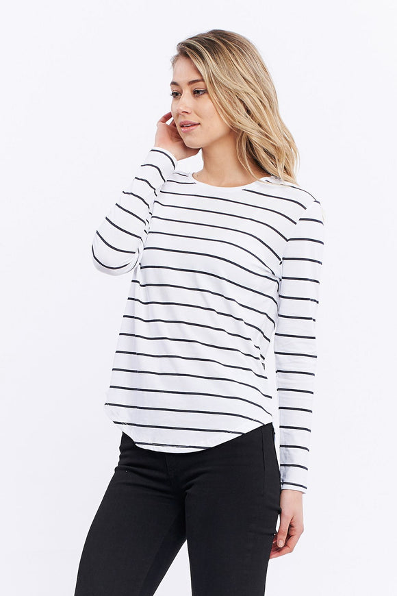 Casa Amuk WOMENS LONG SLEEVE SADDLE HEM TEE - CLASSIC STRIPE