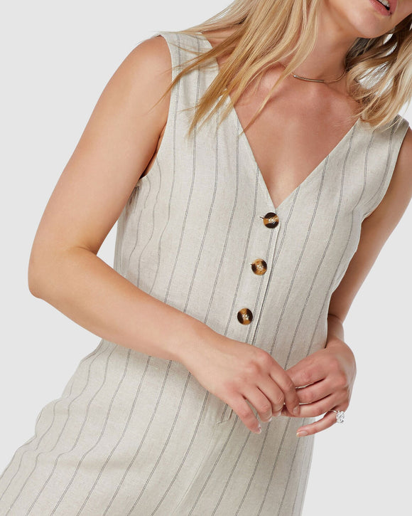 Elwood WOMENS MARLEY LINEN JUMPSUIT NATURAL STRIPE