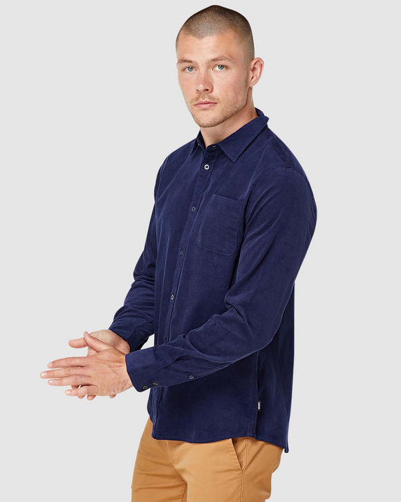 Elwood MENS  MICKY LONG SLEEVE SHIRT NAVY