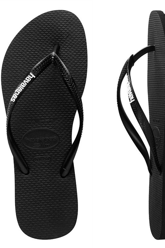 Havaianas SLIM RUBBER LOGO BLACK/WHITE FEMALE