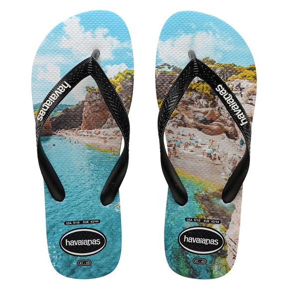 Havaianas PHOTOPRINT (CLIFF JUMP) BLACK-BLACK-TURQUOISE MALE THONGS