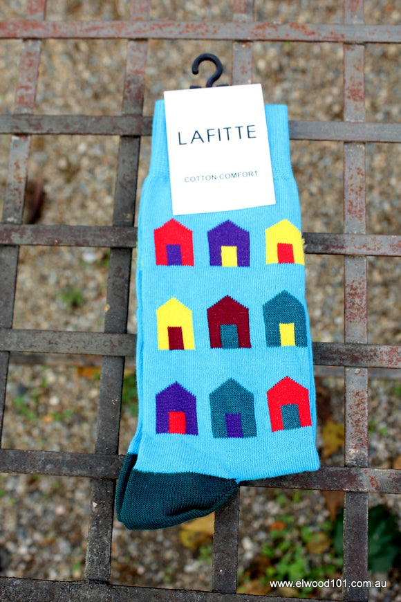 Lafitte BEACH HUT NOVELTY SOCKS AQUA BLUE