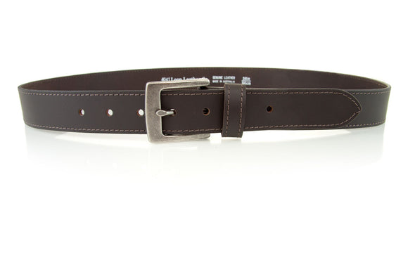 Loop Leather Co MENS WORK TUFF LEATHER BELT CHOC - Elwood 101