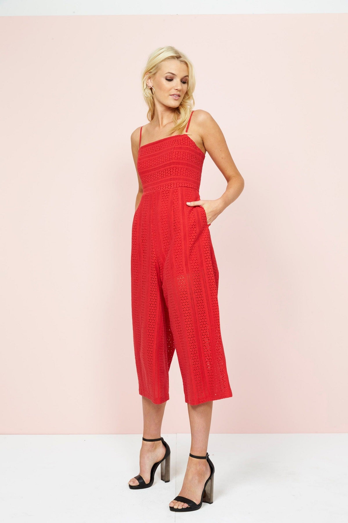 bfc2c04bf07 NEW Mink Pink FIFTH AVENUE CROPPED JUMPSUIT CHERRY RED