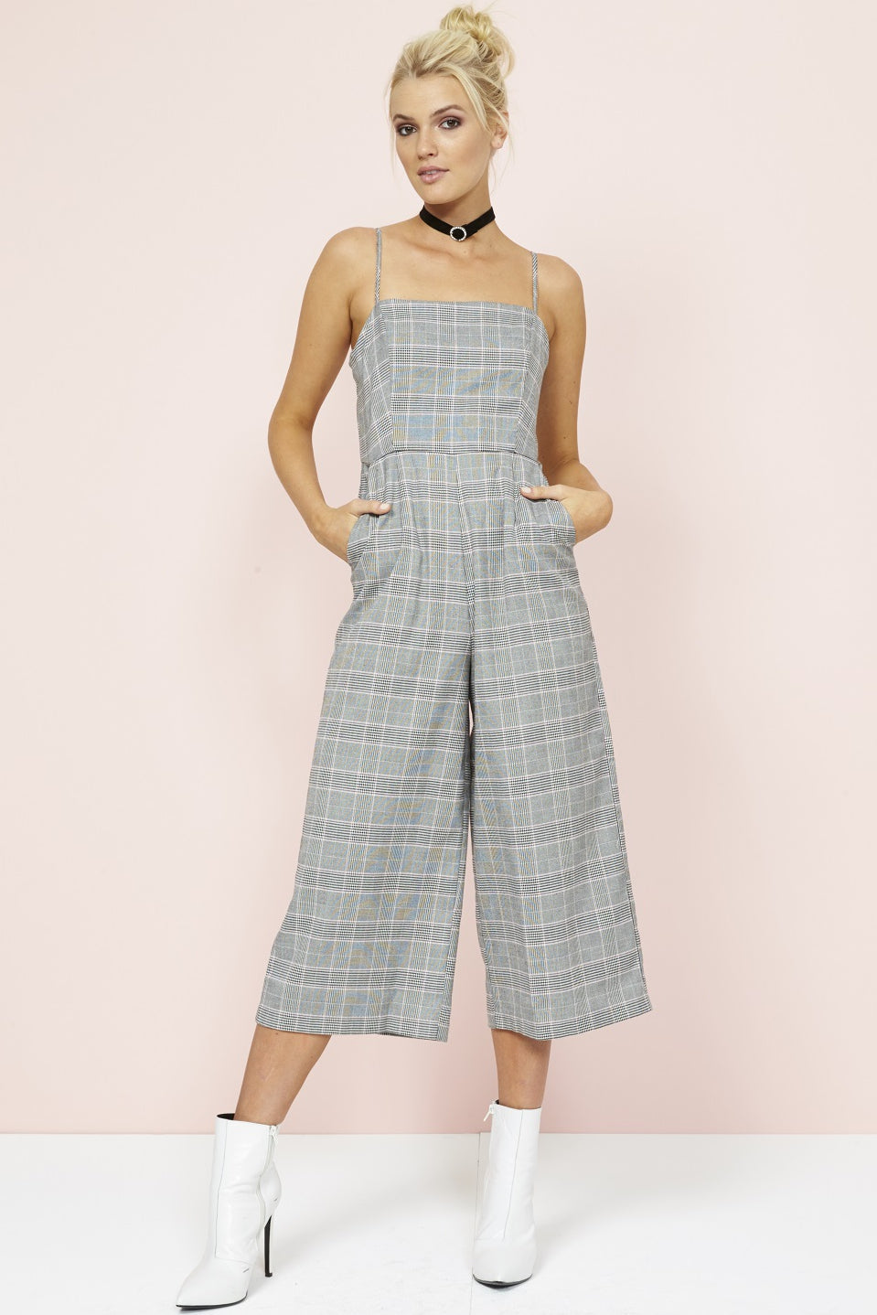 df6f1da5853 NEW MINK PINK POWER TRIP CROPPED CHECK JUMPSUIT