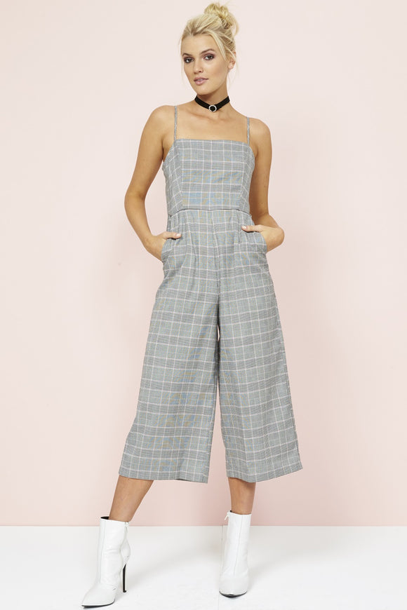MINK PINK POWER TRIP CROPPED CHECK JUMPSUIT