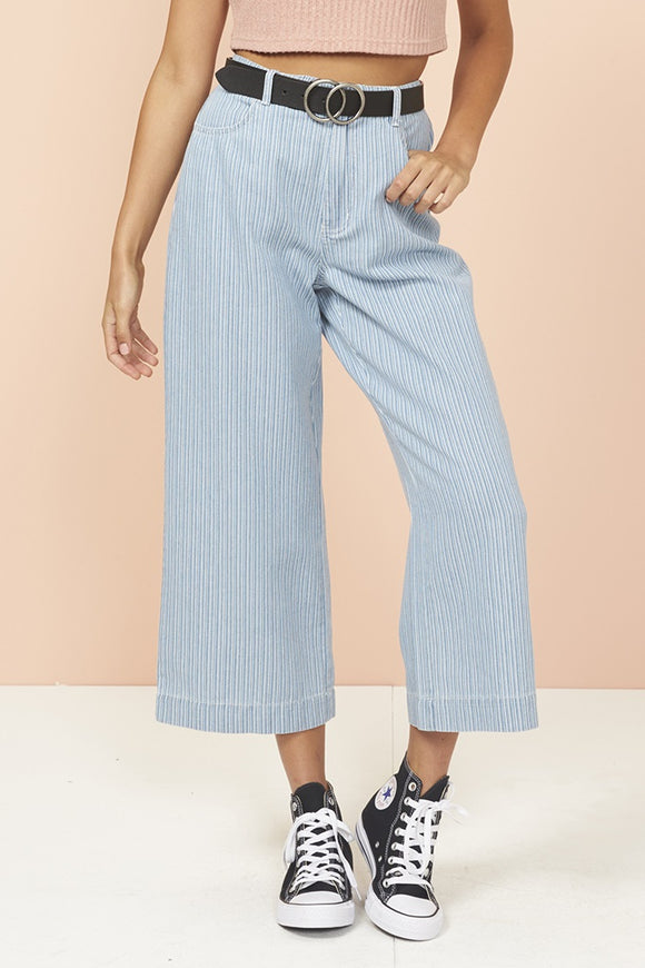 Mink Pink TODAY STRIPE CROPPED  JEANS