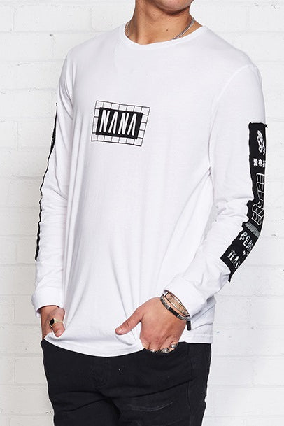 nANA jUDY MENS ORIGIN LONG SLEEVE TEE SHIRT WHITE - Elwood 101