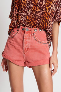 OneTeaspoon WOMENS CORAL STUDDED BANDITS HIGH WAIST DENIM SHORT - CORAL - Elwood 101