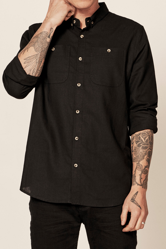 Rollas MEN AT WORK LS LINEN SHIRT - BLACK