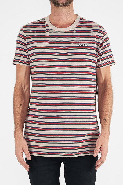 Rollas OLD MATE STRIPE TEE - PURPLE HAZE