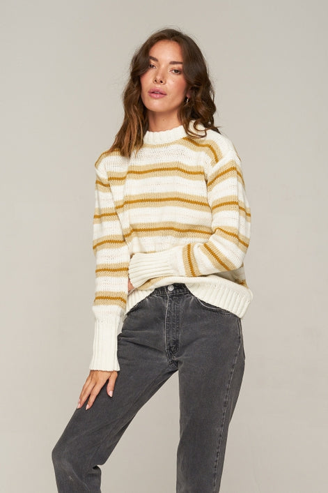 Rue Stiic DAYTONA KNIT JUMPER GOLD /OFF WHITE/SAND STRIPE