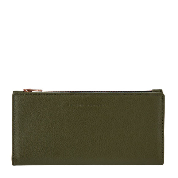 Status Anxiety WOMENS IN THE BEGINNING LEATHER WALLET KHAKI - Elwood 101