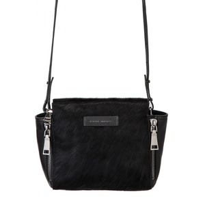 Status Anxiety WOMENS THE ASCENDANTS BAG BLACK LEATHER BLACK FUR - Elwood 101