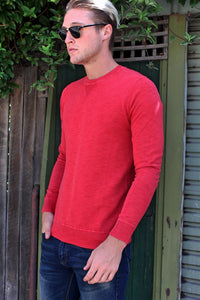 Superdry MENS GARMENT DYE L.A. CREW NECK SWEAT RED