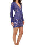 Stylestalker WOMENS LANI LONG SLEEVE LACE DRESS ELECTRIC BLUE