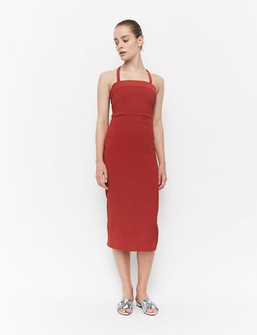 ESSENTIAL CROSS BACK DRESS CARMINE