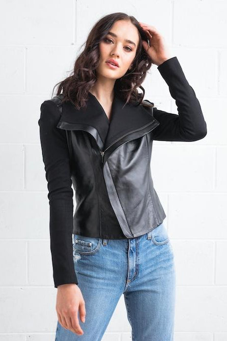 Dea The Label WOMENS GWENYTH LEATHER JACKET - BLACK - Elwood 101