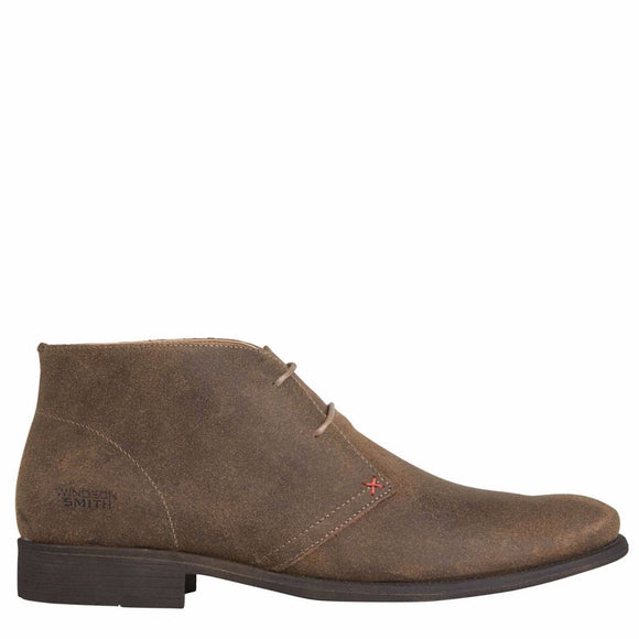 Windsor Smith MENS HARVARD TAUPE SUEDE LACE UP BOOT