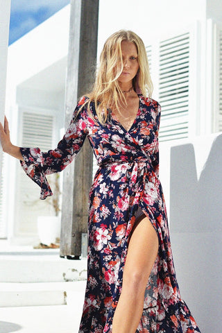 SAVANNAH WRAP MAXI DRESS MIDNIGHT FLORA