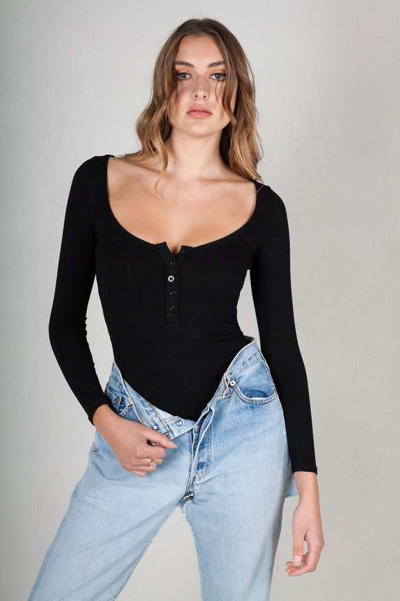 Bayse Brand BUTTON DOWN SCOOP NECK LONG SLEEVE BODYSUIT BLACK