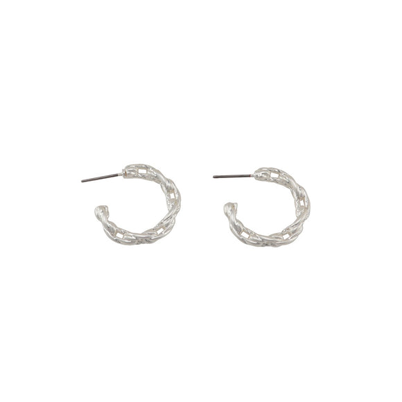 Jolie & Deen WOMENS LUCY CHAIN HOOPS EARRINGS - SILVER