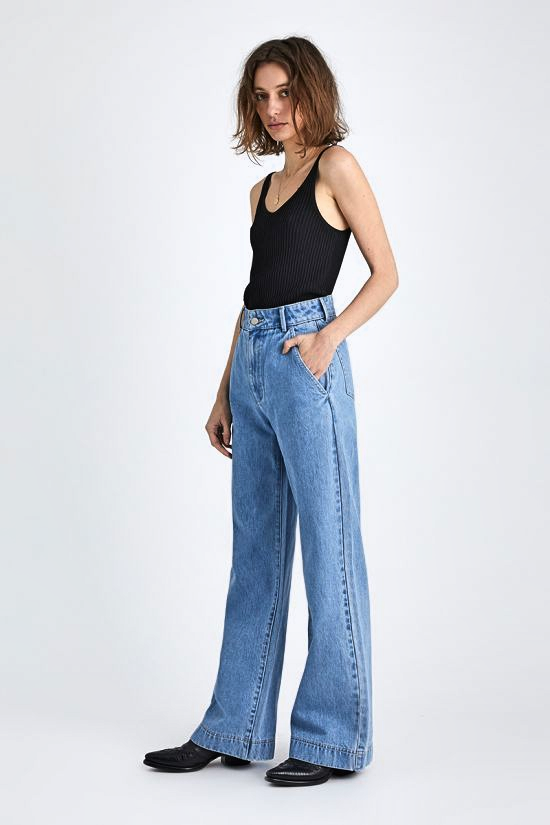 Neuw WOMENS MAGAZINE DENIM WIDE LEG PANT ZERO CBGB'S