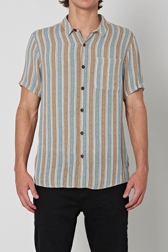 Rollas MENS BON SHORT SLEEVE SHIRT - SODA STRIPE