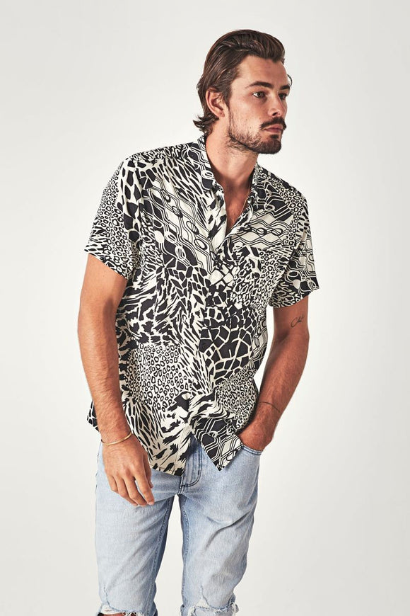 Rollas MENS BON SHORT SLEEVE SHIRT - PARTY ANIMAL
