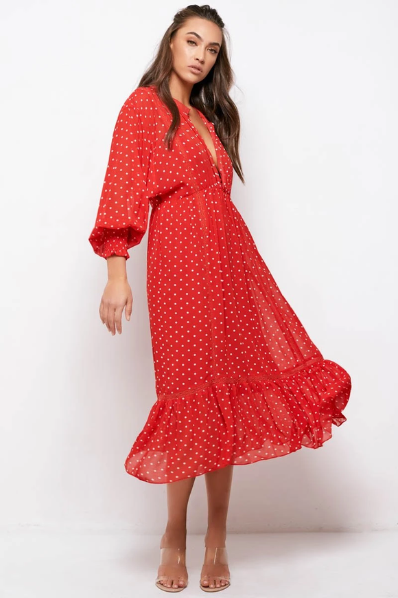 Sundays The Label WOMENS COCO DRESS RED POLKA DOT