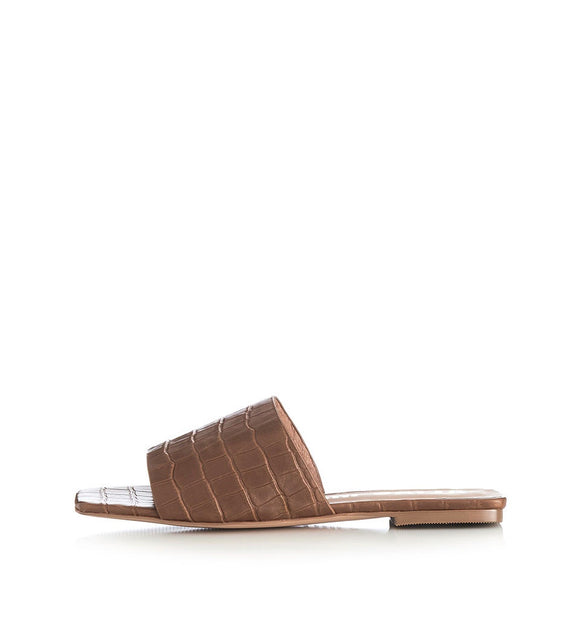Alias Mae WOMENS PRISCILLA TAN CROC SLIDES