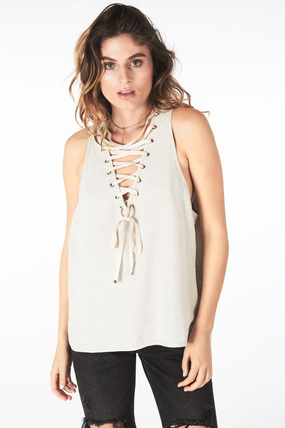 OneTeaspoon WOMENS FRENCH LINEN LACE UP TANK - Elwood 101