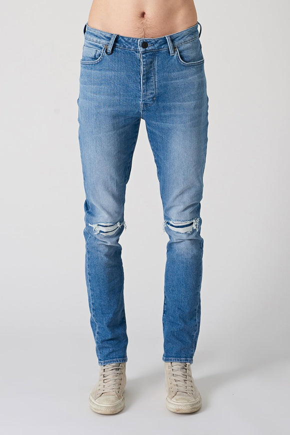 Neuw MENS RAY TAPERED SLIM JEANS - BLUE KIMBIE TORN by Elwood101