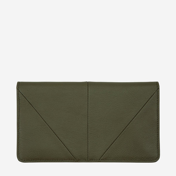 Status Anxiety TRIPLE THREAT LEATHER WALLET KHAKI