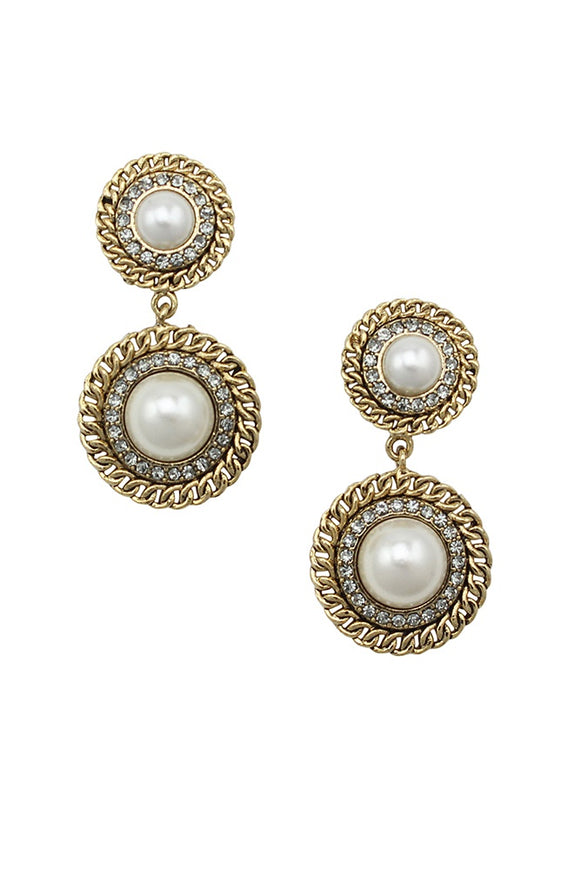 JOLIE & DEEN PEARL CHAIN EARRINGS GOLD