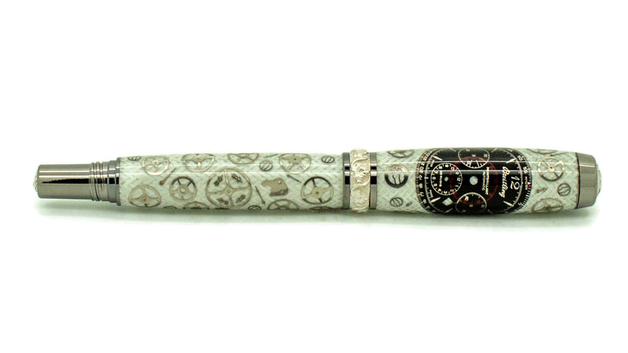 Aaron Rollerball/Fountain/Hybrid Pen | White Carbon Fiber Watch Parts | Breitling Dial | Black Titanium and Rhodium