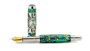 Aaron Rollerball/Fountain/Hybrid Pen | Seafoam Green Paua Abalone Watch Parts | Franck Muller Dial | Rhodium and Black Titanium