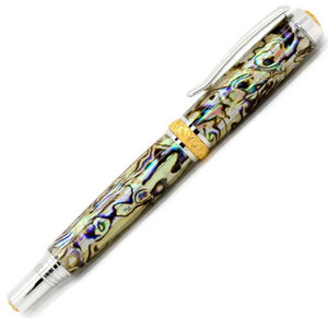 Aaron Rollerball Pen | White Paua Abalone | Rhodium and Gold