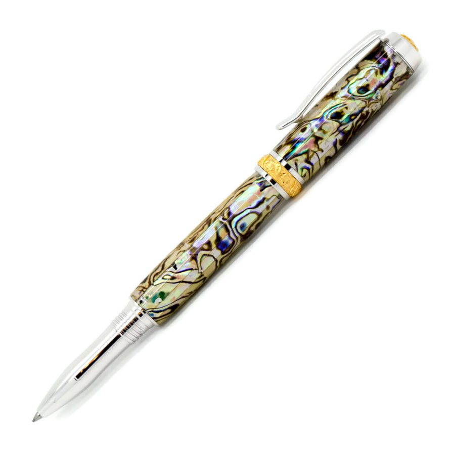 Aaron Rollerball/Fountain/Hybrid Pen | White Paua Abalone | Rhodium and Gold