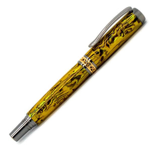 Antony Rollerball Pen | Yellow Gold Paua Abalone | Black Titanium and Gold