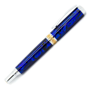 Antony Rollerball Pen | Dark Blue Paua Abalone | Chrome and Gold