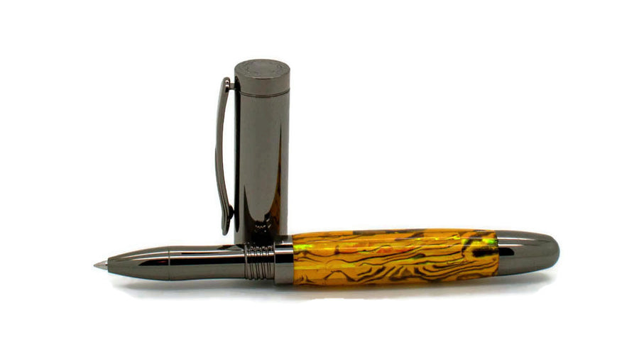 Dennis Rollerball/Fountain/Hybrid Pen | Yellow Gold Paua Abalone | Gunmetal
