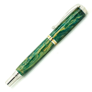 George Rollerball/Fountain/Hybrid Pen | Shamrock Diamondcast | Rhodium and Gold