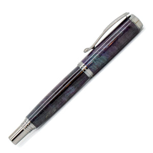 George Rollerball/Fountain/Hybrid Pen | Triple Dyed Purple Buckeye Burl | Black Titanium