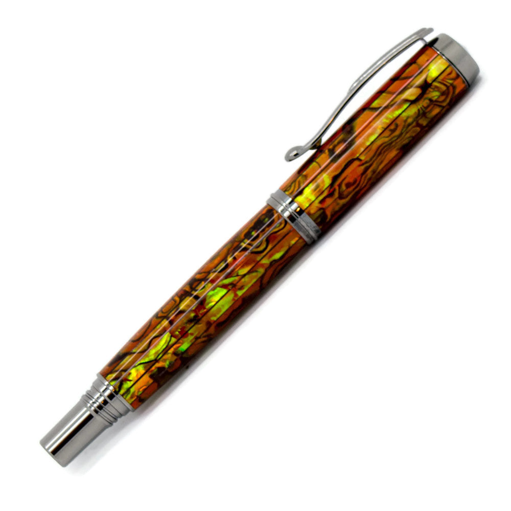 George Rollerball/Fountain/Hybrid Pen | Sunset Orange Paua Abalone | Black Titanium