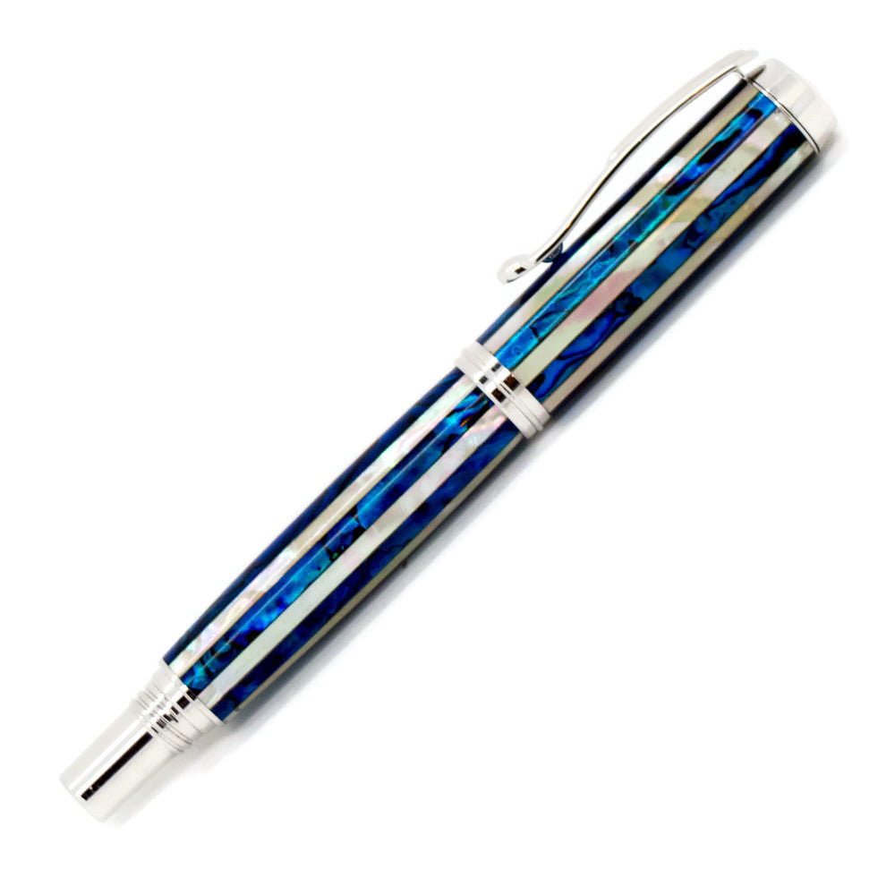 George Rollerball/Fountain Pen | Blue and White Striped Paua Abalone | Rhodium