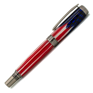 Independence Rollerball Pen | Red White and Blue Feathers | Antique Silver