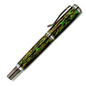 Kojent Rollerball Pen | Green Gold Paua Abalone | Gunmetal and Chrome